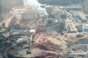 Aerial shot of Enviva wood pelleting plant in Ahoskie, N.C., a facility similar, according to Emily Zucchino of Dogwood Alliance, to the plant proposed in Winnsboro. (Photo/Dogwood Alliance)