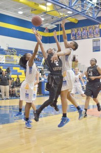Jameka Henderson (2) lifts one into the basket for the Lady Griffins at Lexington Monday night. (Photo/DeAnna Robinson)
