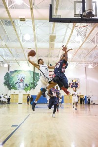Khalil Shakir-Harris (15) attacks the basket for the Bengals. (Photo/Kristy Kimball Massey)