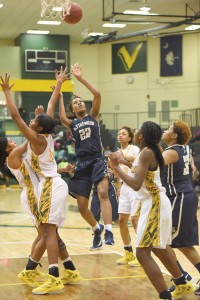 Lauren Harley puts up a fade-away jumper in the lane. (Photo/Kristy Kimball Massey)