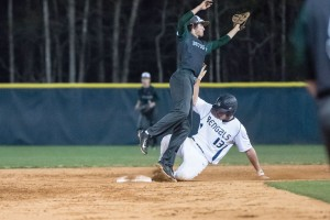 Aiden Massey (13) goes in hard at second Tuesday vs. Dutch Fork. (Photo/Kristy Kimball Massey)