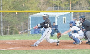 Fairfield Central's Brandon Adams fouls off a pitch from RWA's John Lewis Friday. (Photo/DeAnna Robinson)