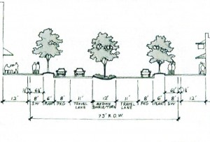In an effort to create a more walkable Town Center District in Blythewood, Council is considering fast-tracking a McNulty streetscape, and then doing the same for the section of Blythewood Road that runs through downtown instead of widening it to 5 lanes. In this proposed streetscape, that portion of Blythewood Road would include 9-foot-wide sidewalks, 6-foot-wide tree planters, 8-foot-wide parallel parking space on each side of the road and one lane in each direction with a 12-foot-wide median planted with trees. Proponents on Council say these improvements would be safer and more attractive than the currently proposed five lanes of traffic.