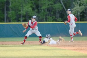 Blythewood's Jacob Davis (9) slides into second Tuesday under the tag of Westwood's T.J. White. (Photo/Kristy Kimball Massey)