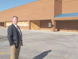 State Sen. Creighton Coleman outside the future home of the IGA grocery store in Winnsboro. (Photo/Barbara Ball)