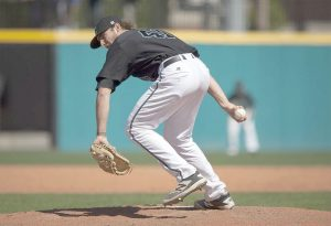 Former Blythewood Bengal and Coastal Carolina junior Andrew Beckwith at work on the hill for the Chants earlier this season. (Sun News Photo)