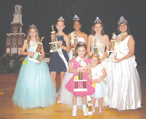 Rock Around the Clock beauties crowned during a pageant on Saturday at Fairfield Central High School include, standing: Young Miss Abigail Shaw; Preteen Miss Sara Denise Pullen, Teen Miss Ja'Niya Martise, Miss Rock Around the Clock Cali Ann Swearingen and Ms. RATC Amy Rose Calixto. Front: Little Miss Alexis Blair Montgomery and Wee Miss Molliegh Rose Talbert. Not shown: Baby Miss Anna-Leigh Hill and Toddler Miss Mason Cardon. Kylie Allene Jordan was named Miss Photogenic.