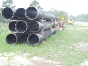 The 2-1/2 foot sewer line being constructed for Palmetto Utilities along Langford Road will accommodate growth in Blythewood and the surrounding county.