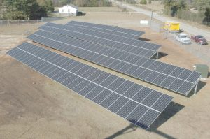 An overhead view of the Fairfield Electrical Cooperative's new solar array. (Photo/Walter Allread)