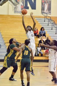 Nia Smith (24) goes up strong for the Lady Bengals. (Photo/Kristy Kimball Massey)